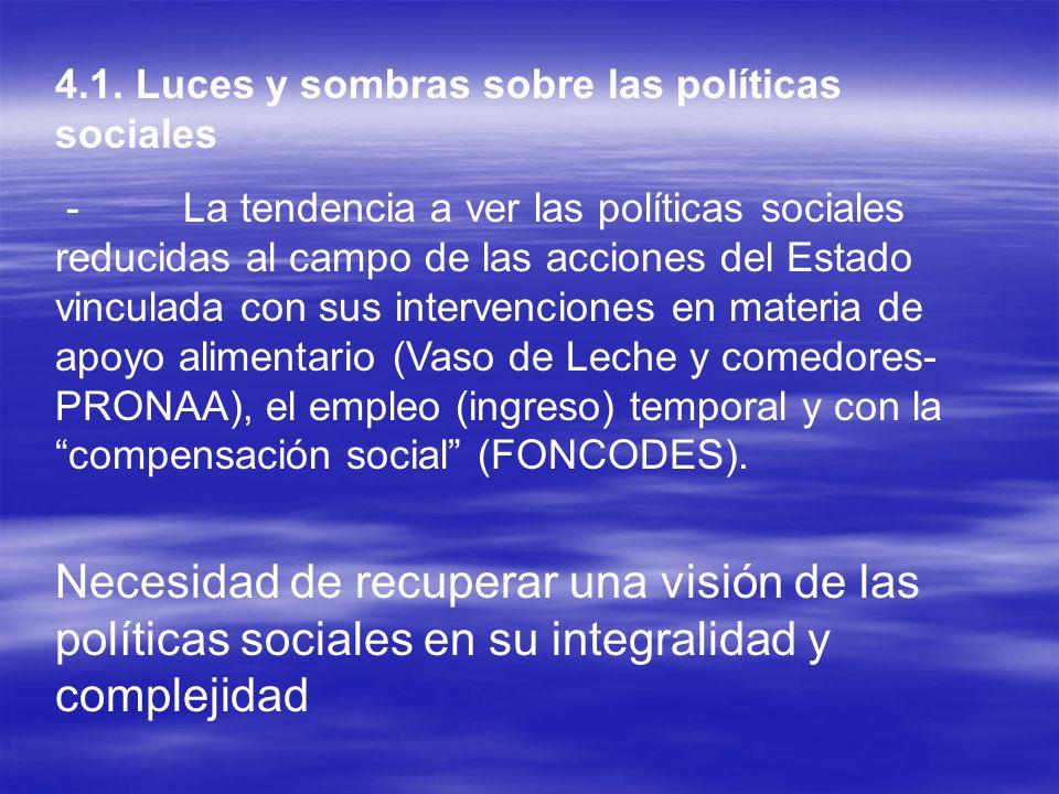 4.1. Luces y sombras sobre las políticas sociales - La tendencia a ver las políticas sociales reducidas al campo de las acciones del Estado vinculada