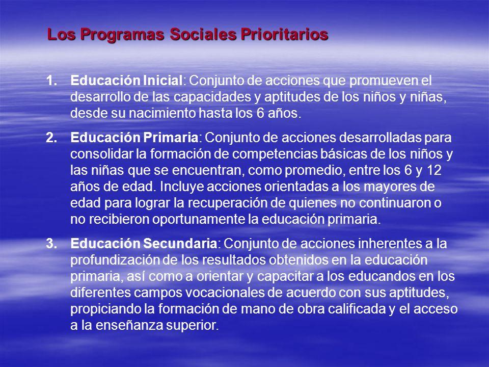 Los Programas Sociales Prioritarios Los Programas Sociales Prioritarios 1.Educación Inicial: Conjunto de acciones que promueven el desarrollo de las c