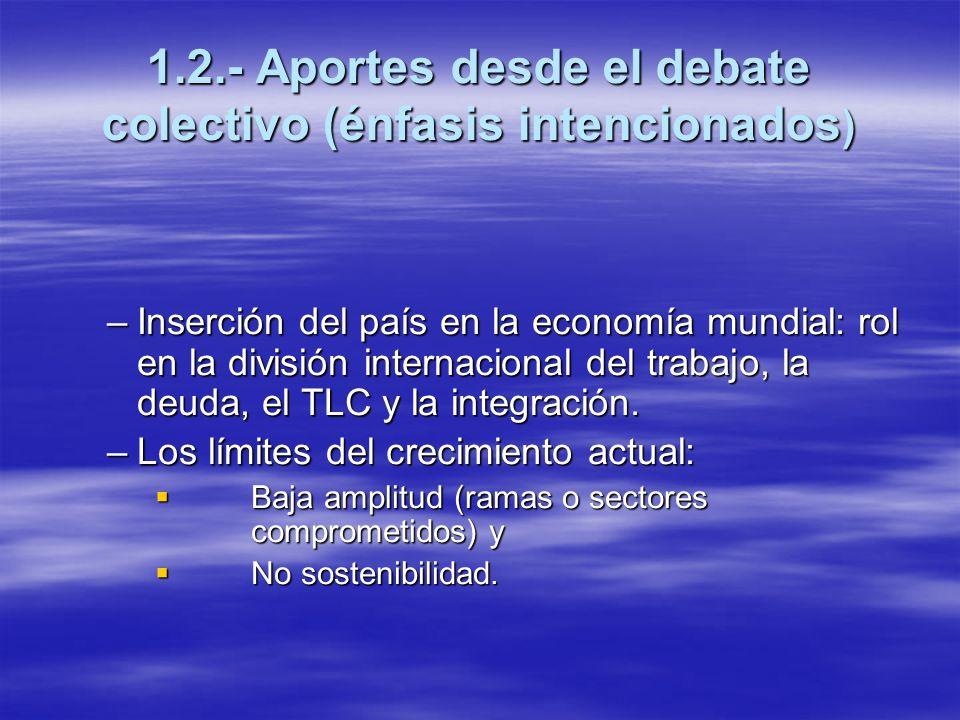 1.2.- Aportes desde el debate colectivo (énfasis intencionados ) –Inserción del país en la economía mundial: rol en la división internacional del trab