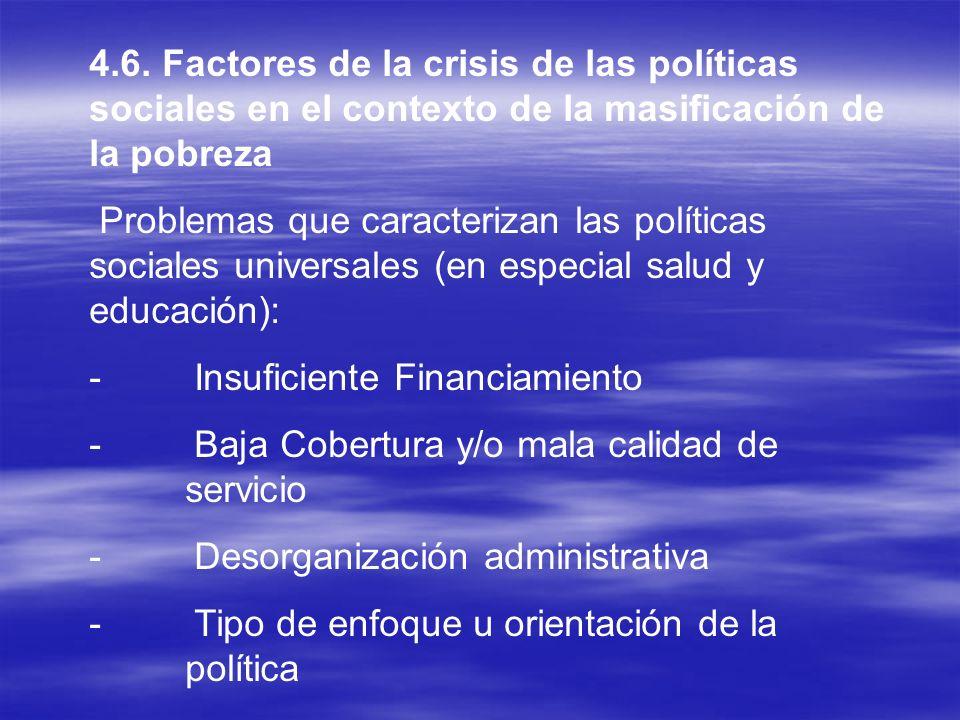 4.6. Factores de la crisis de las políticas sociales en el contexto de la masificación de la pobreza Problemas que caracterizan las políticas sociales