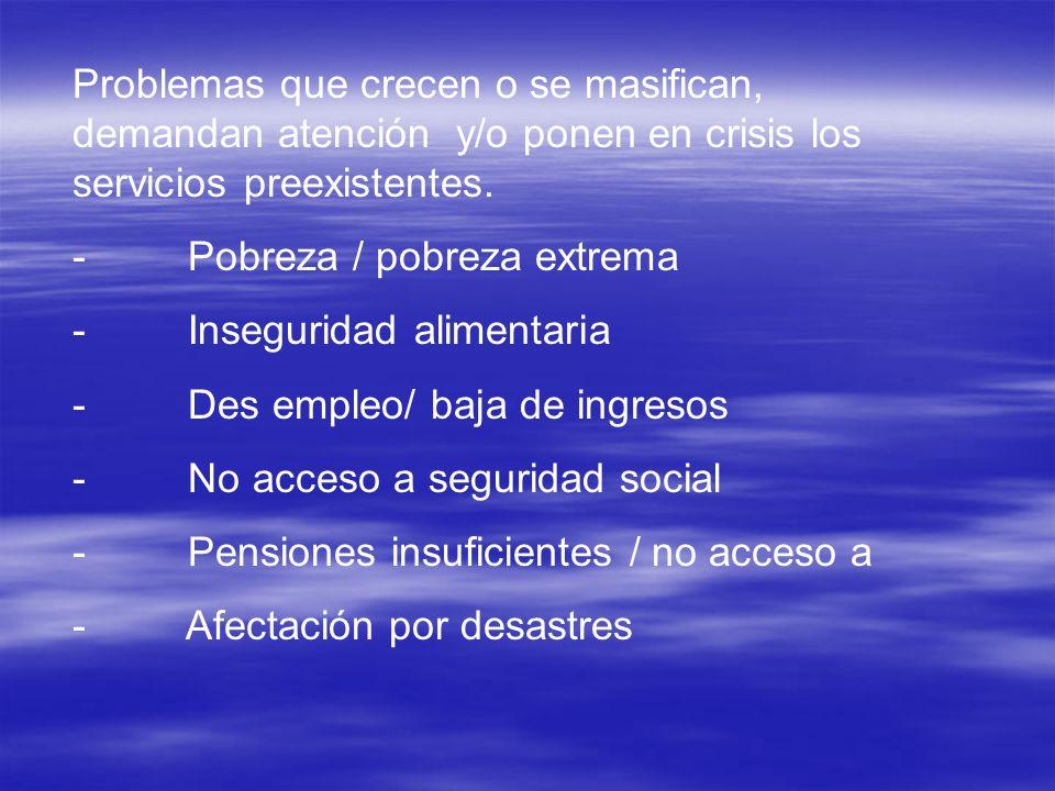 Problemas que crecen o se masifican, demandan atención y/o ponen en crisis los servicios preexistentes. - Pobreza / pobreza extrema - Inseguridad alim