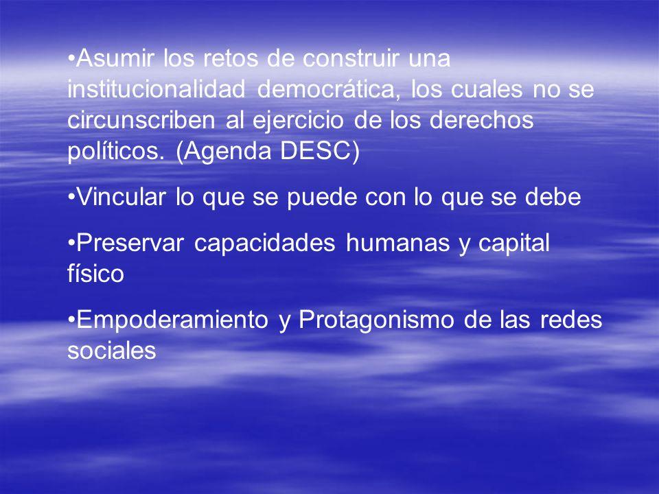 Asumir los retos de construir una institucionalidad democrática, los cuales no se circunscriben al ejercicio de los derechos políticos. (Agenda DESC)