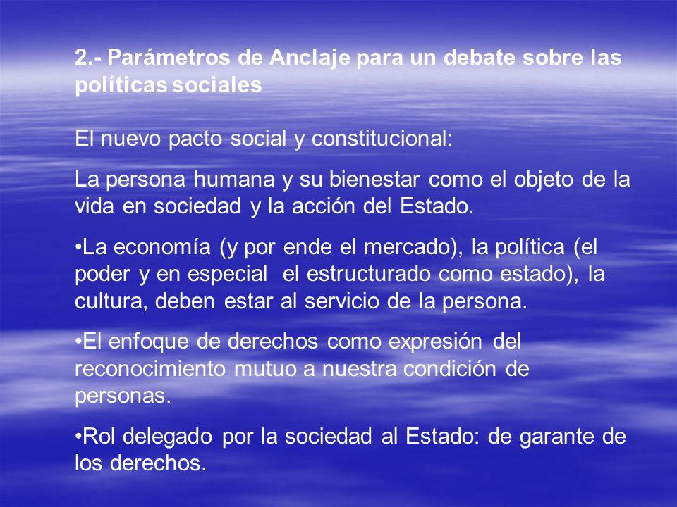 2.- Parámetros de Anclaje para un debate sobre las políticas sociales El nuevo pacto social y constitucional: La persona humana y su bienestar como el