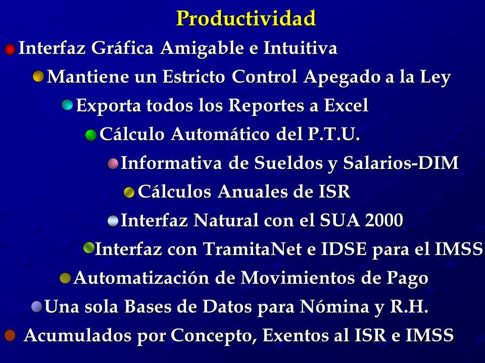 Productividad Interfaz Natural con el SUA 2000 Cálculos Anuales de ISR Informativa de Sueldos y Salarios-DIM Una sola Bases de Datos para Nómina y R.H.