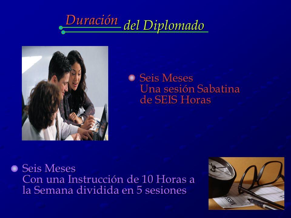 Seis Meses Una sesión Sabatina de SEIS Horas Seis Meses Con una Instrucción de 10 Horas a la Semana dividida en 5 sesiones Duración del Diplomado