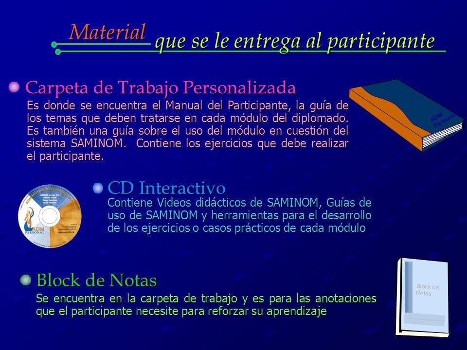 Material que se le entrega al participante ADM Personal Carpeta de Trabajo Personalizada Es donde se encuentra el Manual del Participante, la guía de los temas que deben tratarse en cada módulo del diplomado.
