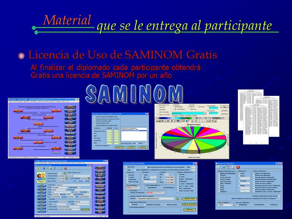 Material que se le entrega al participante Licencia de Uso de SAMINOM Gratis Al finalizar el diplomado cada participante obtendrá Gratis una licencia de SAMINOM por un año