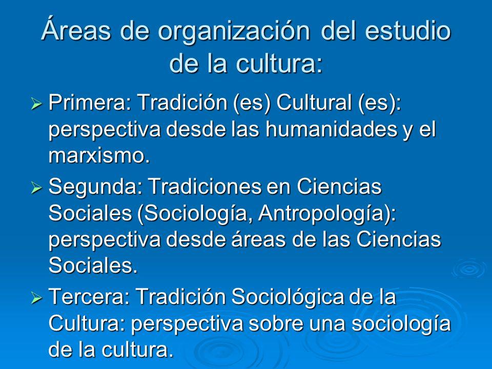 Áreas de organización del estudio de la cultura: Primera: Tradición (es) Cultural (es): perspectiva desde las humanidades y el marxismo. Primera: Trad