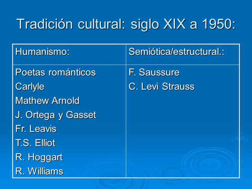 Tradición cultural: siglo XIX a 1950: Humanismo:Semiótica/estructural.: Poetas románticos Carlyle Mathew Arnold J. Ortega y Gasset Fr. Leavis T.S. Ell