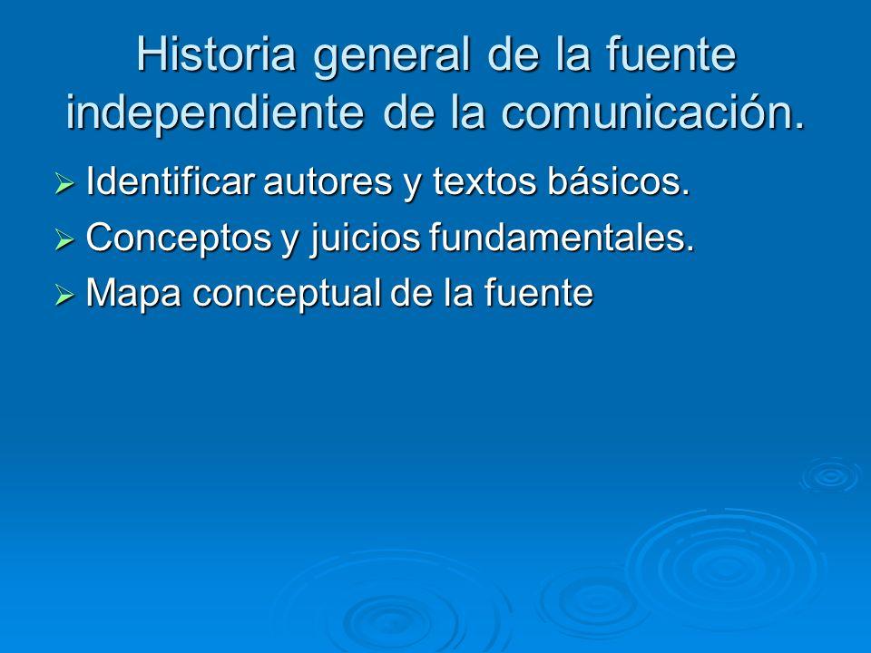 Historia general de la fuente independiente de la comunicación. Identificar autores y textos básicos. Identificar autores y textos básicos. Conceptos