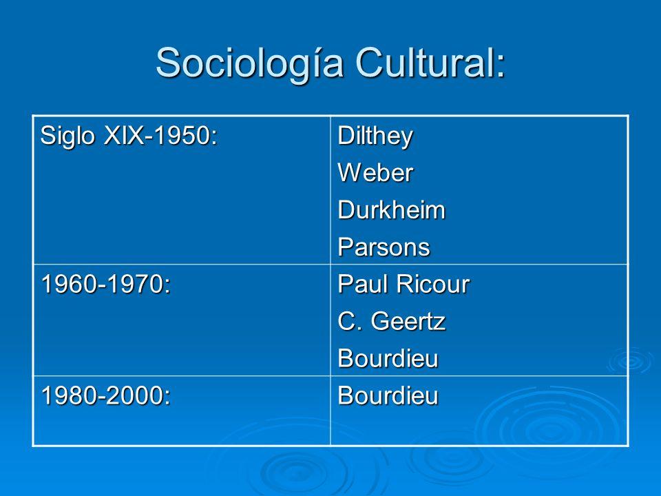 Sociología Cultural: Siglo XIX-1950: DiltheyWeberDurkheimParsons 1960-1970: Paul Ricour C. Geertz Bourdieu 1980-2000:Bourdieu