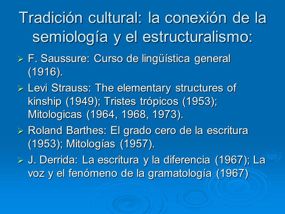 Tradición cultural: la conexión de la semiología y el estructuralismo: F. Saussure: Curso de lingüística general (1916). F. Saussure: Curso de lingüís