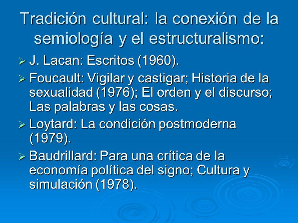 Tradición cultural: la conexión de la semiología y el estructuralismo: J. Lacan: Escritos (1960). J. Lacan: Escritos (1960). Foucault: Vigilar y casti