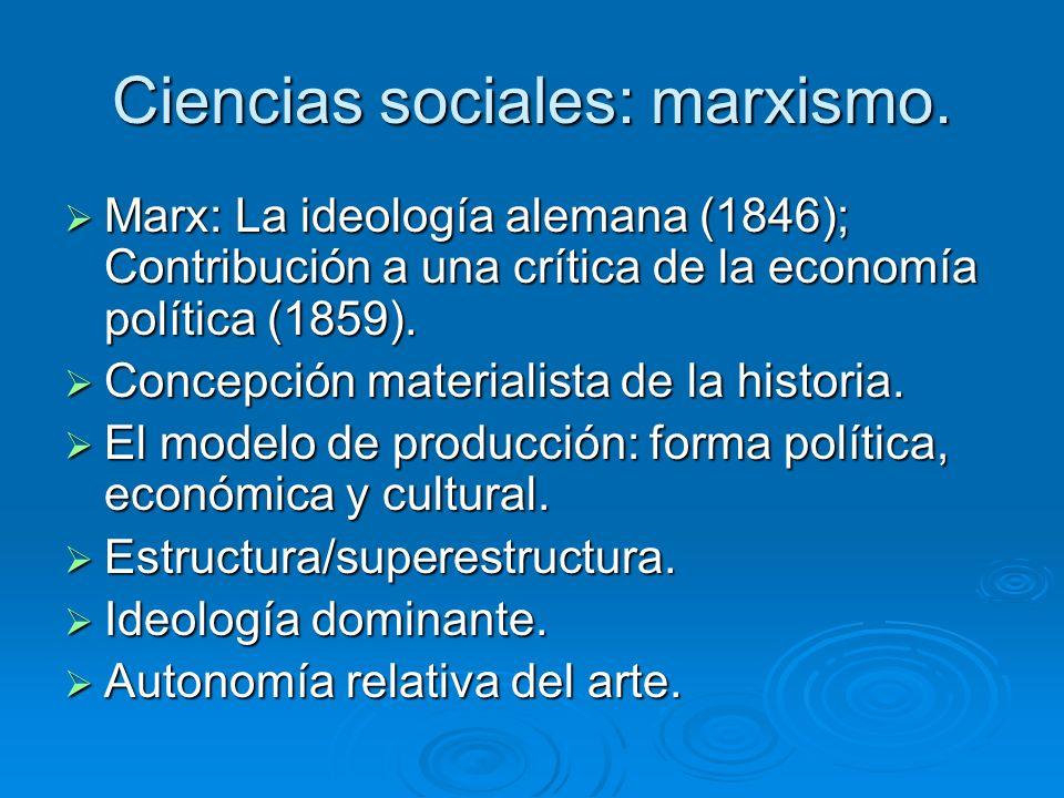 Ciencias sociales: marxismo. Marx: La ideología alemana (1846); Contribución a una crítica de la economía política (1859). Marx: La ideología alemana