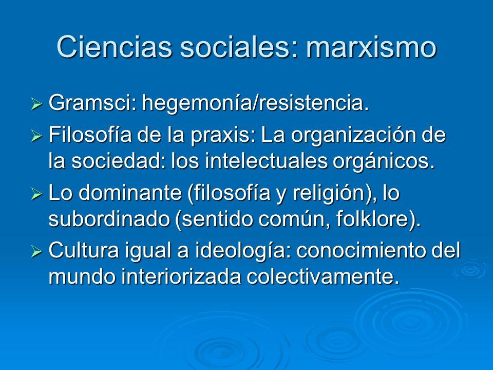 Ciencias sociales: marxismo Gramsci: hegemonía/resistencia. Gramsci: hegemonía/resistencia. Filosofía de la praxis: La organización de la sociedad: lo