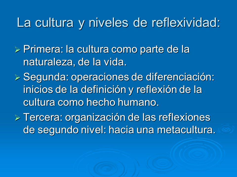 La cultura y niveles de reflexividad: Primera: la cultura como parte de la naturaleza, de la vida. Primera: la cultura como parte de la naturaleza, de