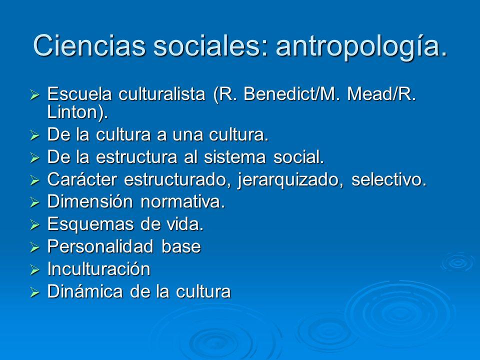 Ciencias sociales: antropología. Escuela culturalista (R. Benedict/M. Mead/R. Linton). Escuela culturalista (R. Benedict/M. Mead/R. Linton). De la cul