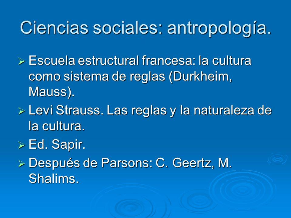Ciencias sociales: antropología. Escuela estructural francesa: la cultura como sistema de reglas (Durkheim, Mauss). Escuela estructural francesa: la c