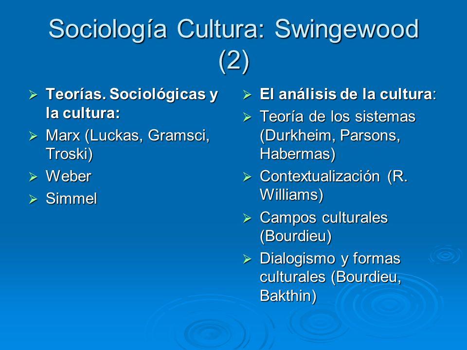 Sociología Cultura: Swingewood (2) Teorías. Sociológicas y la cultura: Teorías. Sociológicas y la cultura: Marx (Luckas, Gramsci, Troski) Marx (Luckas
