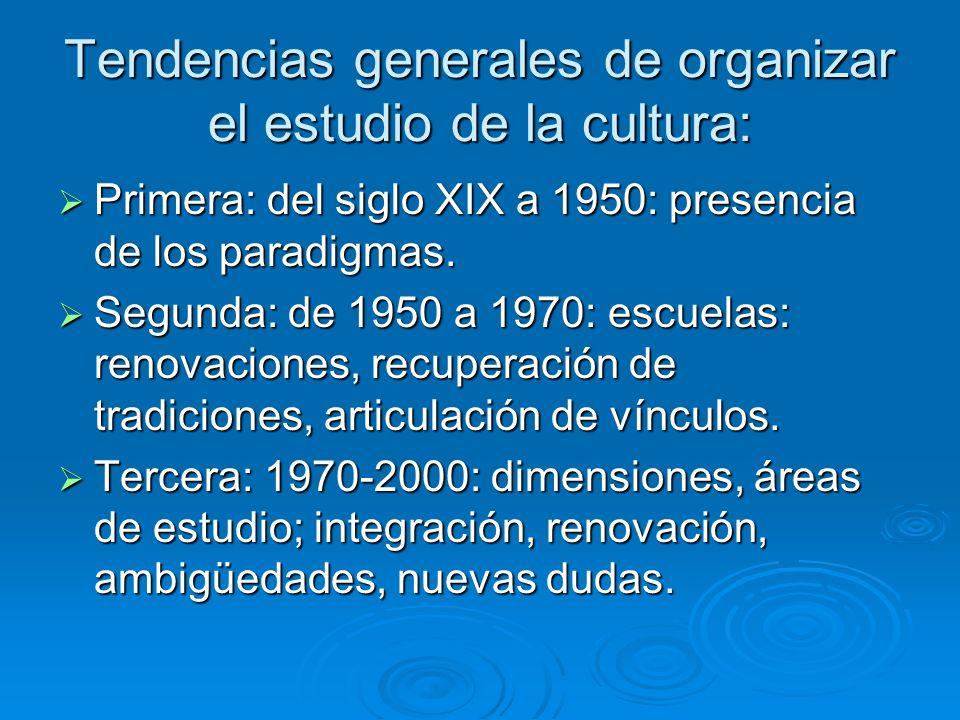 Tendencias generales de organizar el estudio de la cultura: Primera: del siglo XIX a 1950: presencia de los paradigmas. Primera: del siglo XIX a 1950: