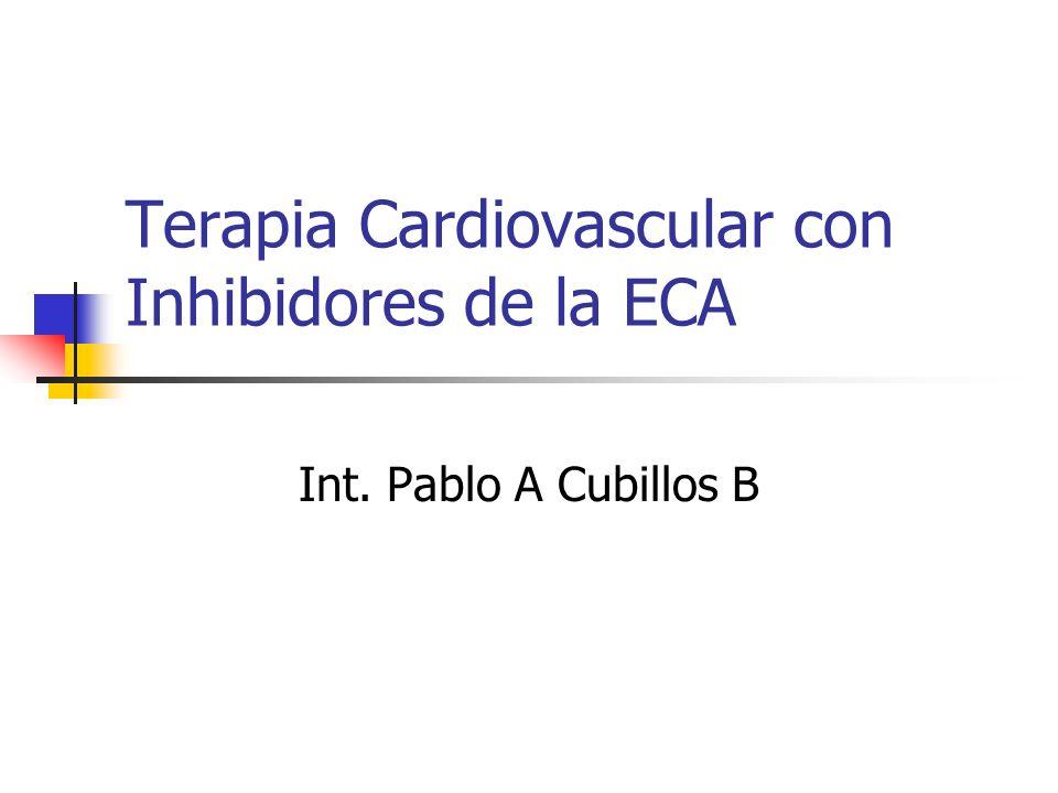 Captopril = tabletas 12,5, 25 y 50 mg Primer IECA aprobado FDA 1981 No es Prodroga 75% Biodisponibilidad- absorción rápida Util en crisis hipertensivas Vida media 2 hrs Clearance Renal