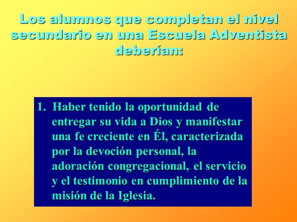 1.Un currículo formal e informal en el que se intregan el estudio académico, los valores espirituales y el diario vivir. 2.Un programa académico y voc