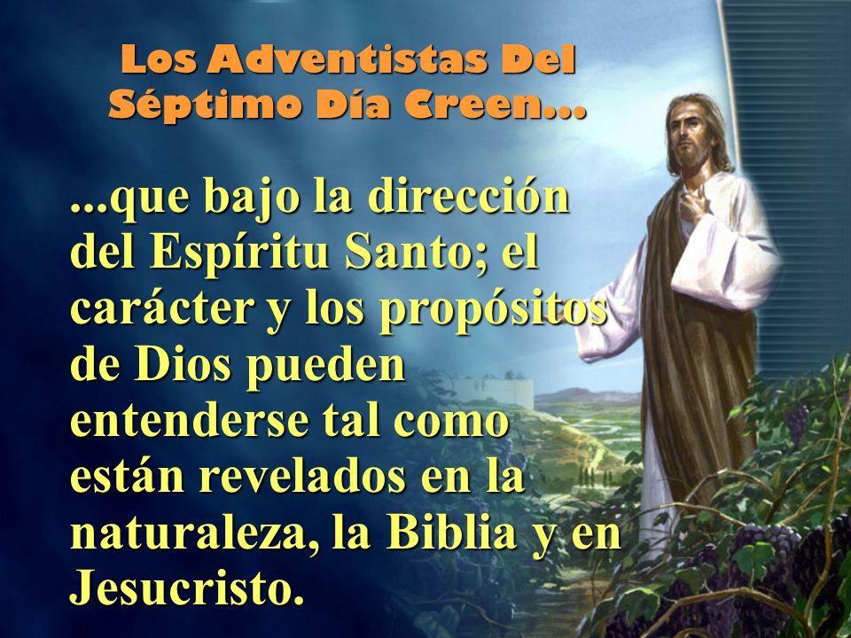 ...que bajo la dirección del Espíritu Santo; el carácter y los propósitos de Dios pueden entenderse tal como están revelados en la naturaleza, la Biblia y en Jesucristo.