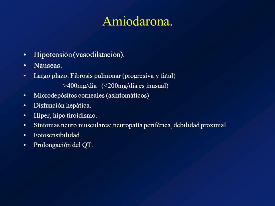 Amiodarona. Hipotensión (vasodilatación). Náuseas. Largo plazo: Fibrosis pulmonar (progresiva y fatal) >400mg/día (<200mg/día es inusual) Microdepósit