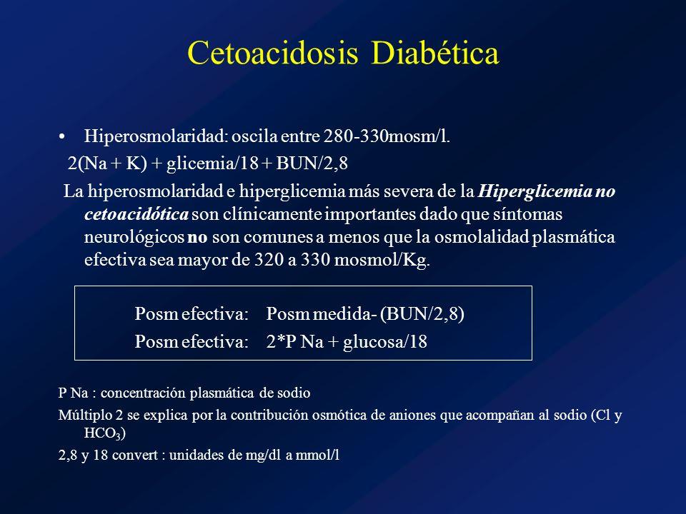 Cetoacidosis Diabética Hiperosmolaridad: oscila entre 280-330mosm/l. 2(Na + K) + glicemia/18 + BUN/2,8 La hiperosmolaridad e hiperglicemia más severa