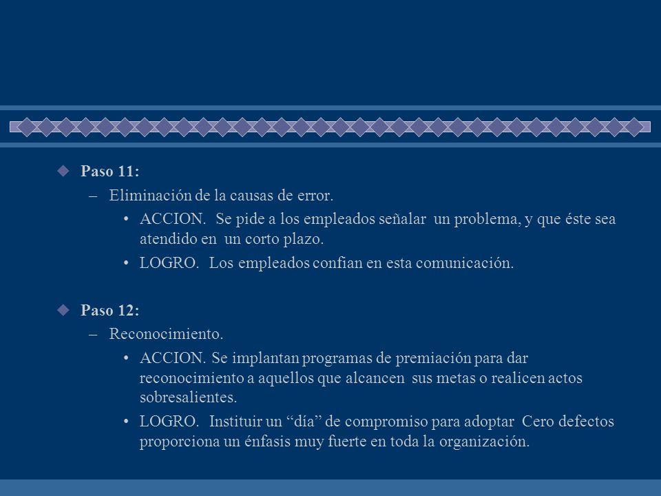 Paso 11: –Eliminación de la causas de error. ACCION. Se pide a los empleados señalar un problema, y que éste sea atendido en un corto plazo. LOGRO. Lo