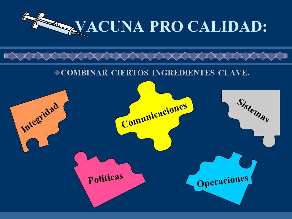 VACUNA PRO CALIDAD: COMBINAR CIERTOS INGREDIENTES CLAVE. Integridad Sistemas Operaciones Políticas Comunicaciones
