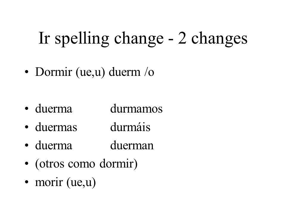 Ir spelling change - 2 changes Dormir (ue,u) duerm /o duermadurmamos duermasdurmáis duermaduerman (otros como dormir) morir (ue,u)