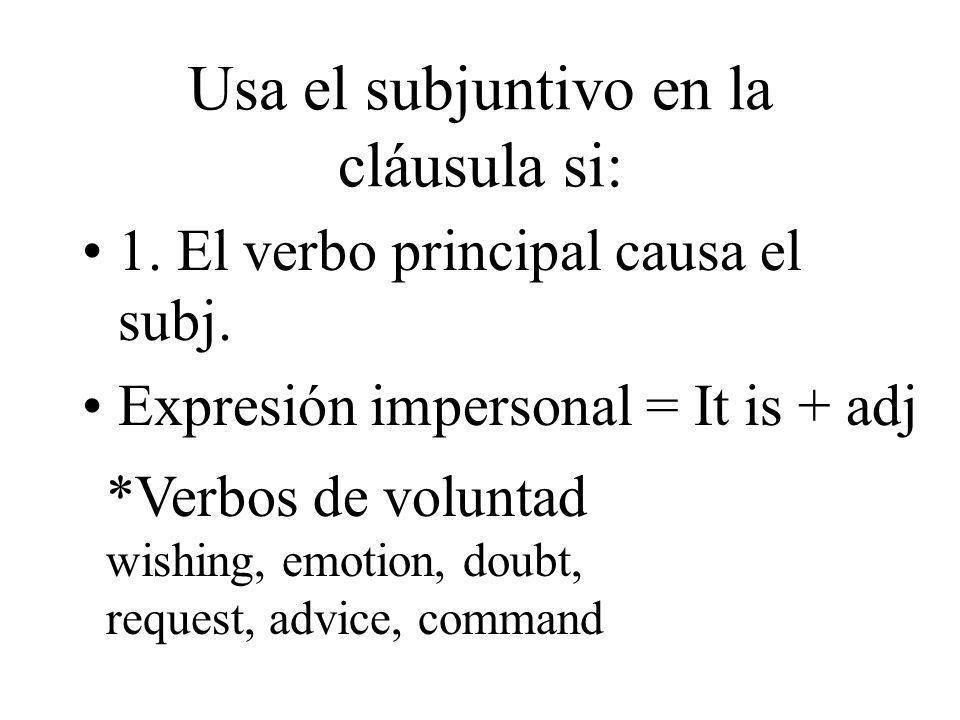 Usa el subjuntivo en la cláusula si: 1. El verbo principal causa el subj. Expresión impersonal = It is + adj *Verbos de voluntad wishing, emotion, dou