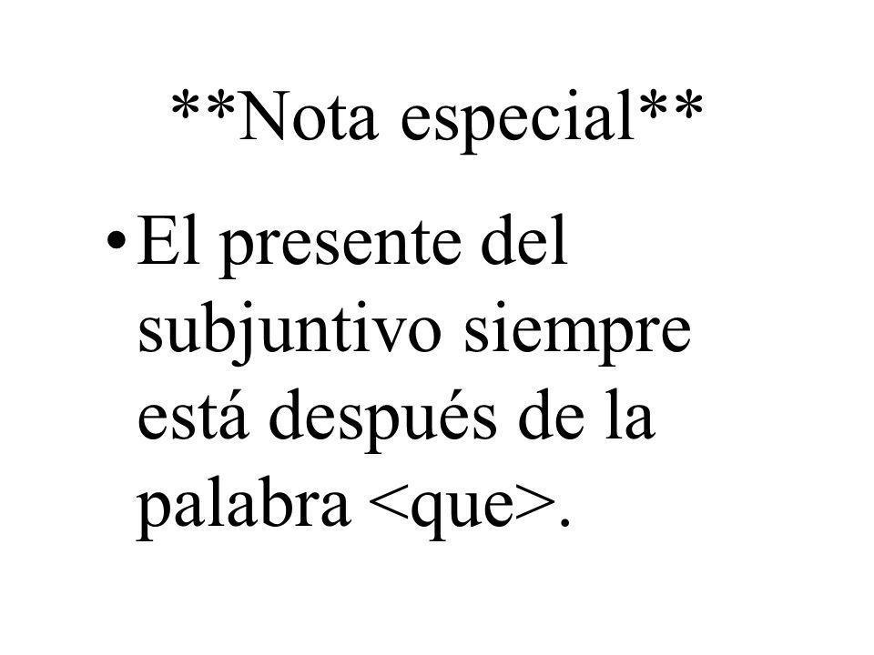 **Nota especial** El presente del subjuntivo siempre está después de la palabra.