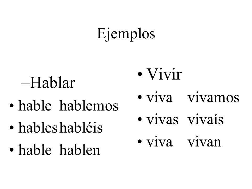 Ejemplos –Hablar hablehablemos hableshabléis hablehablen Vivir vivavivamos vivasvivaís vivavivan