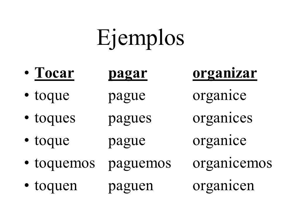 Ejemplos Tocarpagarorganizar toquepagueorganice toquespaguesorganices toquepagueorganice toquemospaguemosorganicemos toquenpaguenorganicen