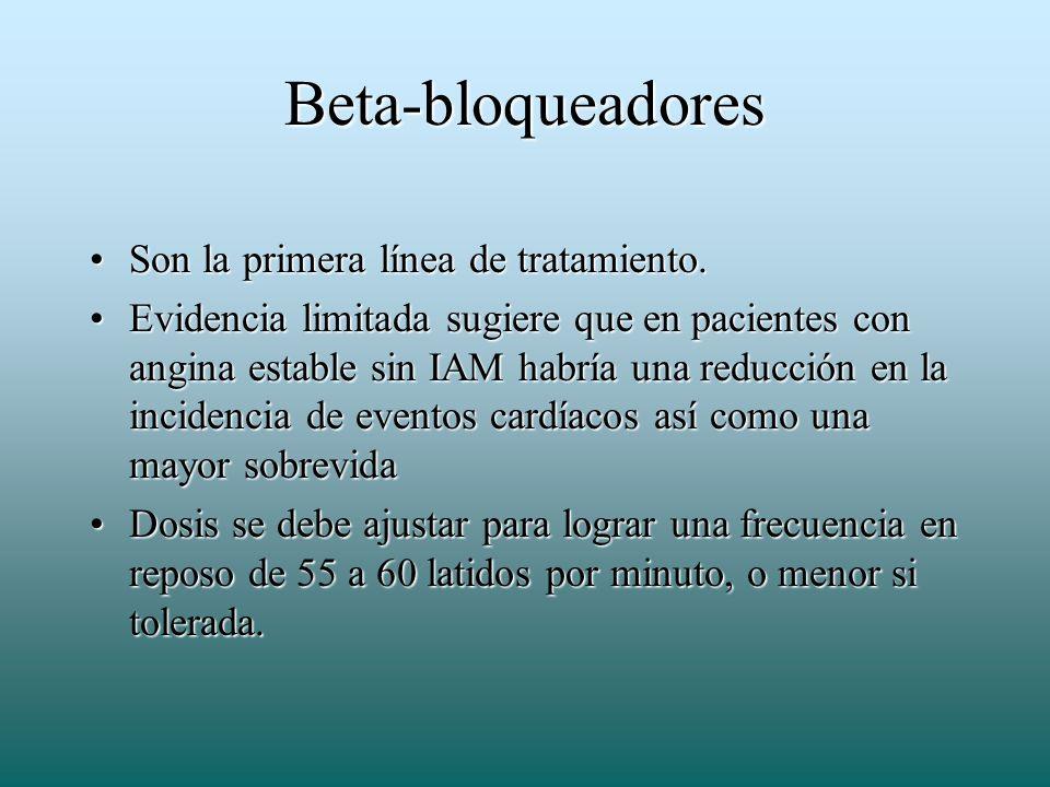 Beta-bloqueadores Son la primera línea de tratamiento.Son la primera línea de tratamiento. Evidencia limitada sugiere que en pacientes con angina esta
