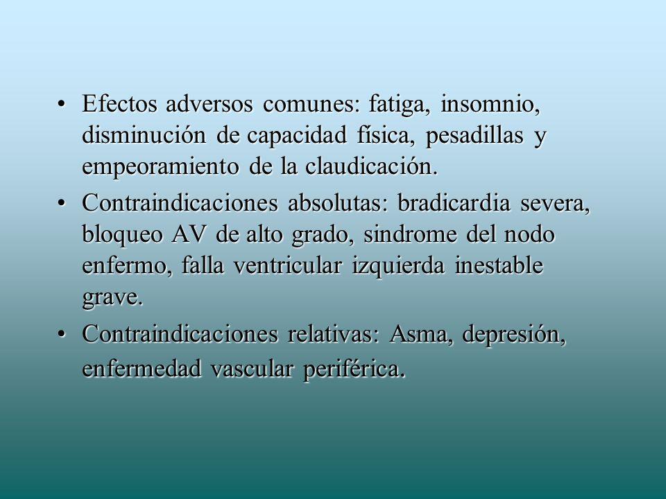 Efectos adversos comunes: fatiga, insomnio, disminución de capacidad física, pesadillas y empeoramiento de la claudicación.Efectos adversos comunes: f