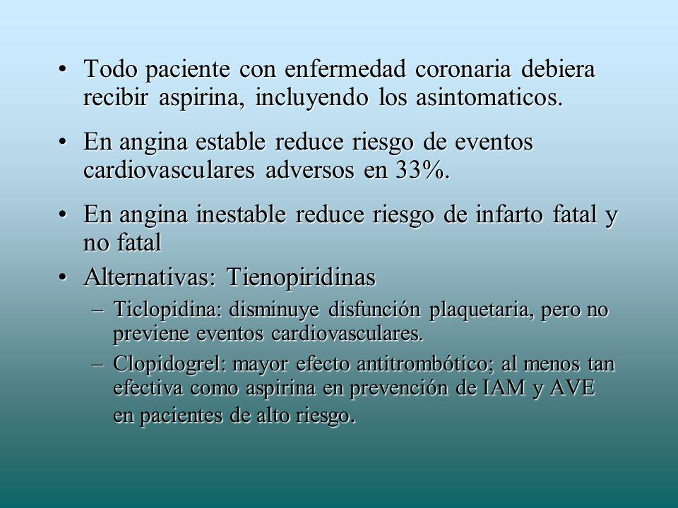 Todo paciente con enfermedad coronaria debiera recibir aspirina, incluyendo los asintomaticos.Todo paciente con enfermedad coronaria debiera recibir a