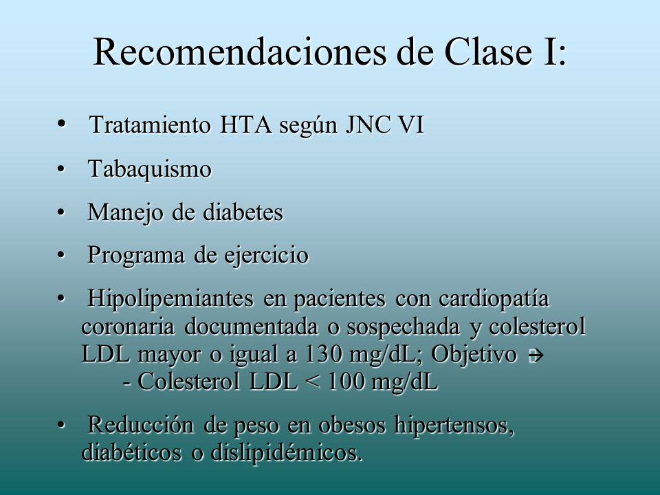 Recomendaciones de Clase I: Tratamiento HTA según JNC VI Tratamiento HTA según JNC VI Tabaquismo Tabaquismo Manejo de diabetes Manejo de diabetes Prog