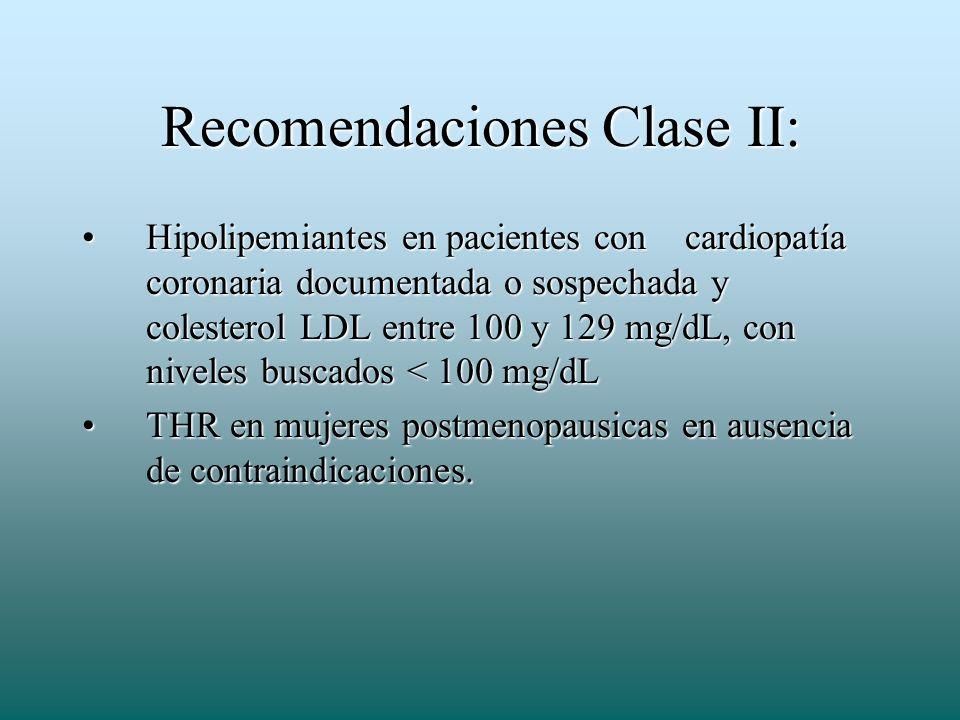 Recomendaciones Clase II: Hipolipemiantes en pacientes con cardiopatía coronaria documentada o sospechada y colesterol LDL entre 100 y 129 mg/dL, con