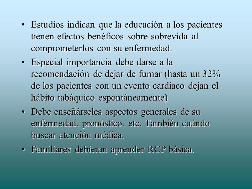 Estudios indican que la educación a los pacientes tienen efectos benéficos sobre sobrevida al comprometerlos con su enfermedad.Estudios indican que la