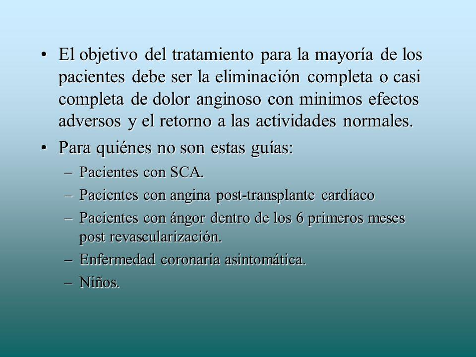 El objetivo del tratamiento para la mayoría de los pacientes debe ser la eliminación completa o casi completa de dolor anginoso con minimos efectos ad