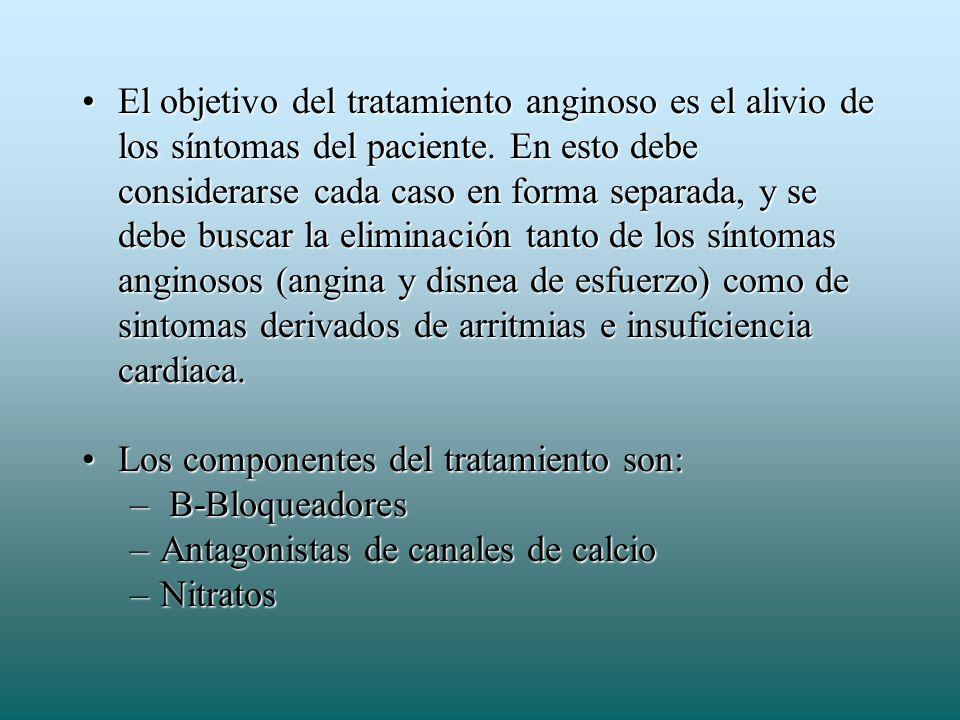 El objetivo del tratamiento anginoso es el alivio de los síntomas del paciente. En esto debe considerarse cada caso en forma separada, y se debe busca
