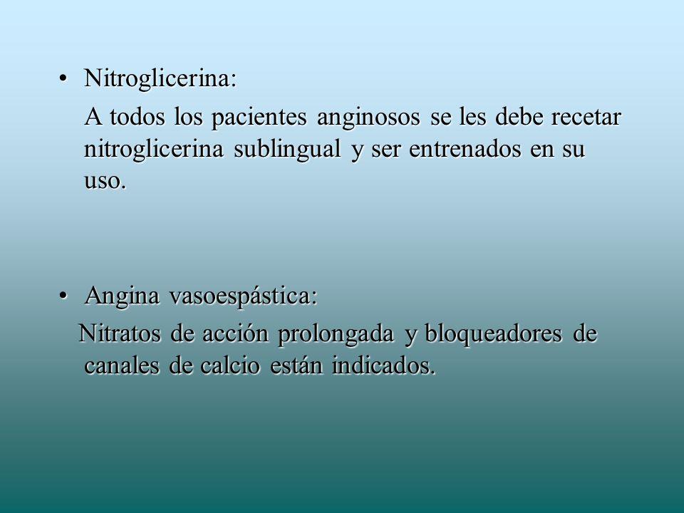 Nitroglicerina:Nitroglicerina: A todos los pacientes anginosos se les debe recetar nitroglicerina sublingual y ser entrenados en su uso. Angina vasoes