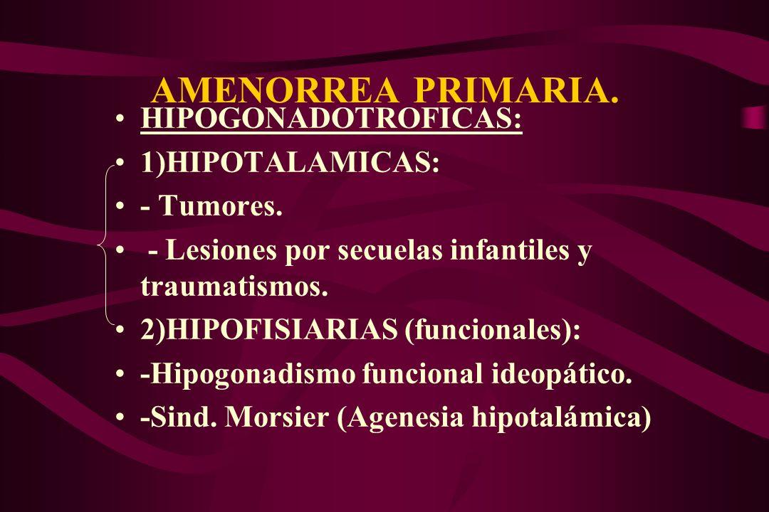 AMENORREA PRIMARIA. HIPOGONADOTROFICAS: 1)HIPOTALAMICAS: - Tumores. - Lesiones por secuelas infantiles y traumatismos. 2)HIPOFISIARIAS (funcionales):