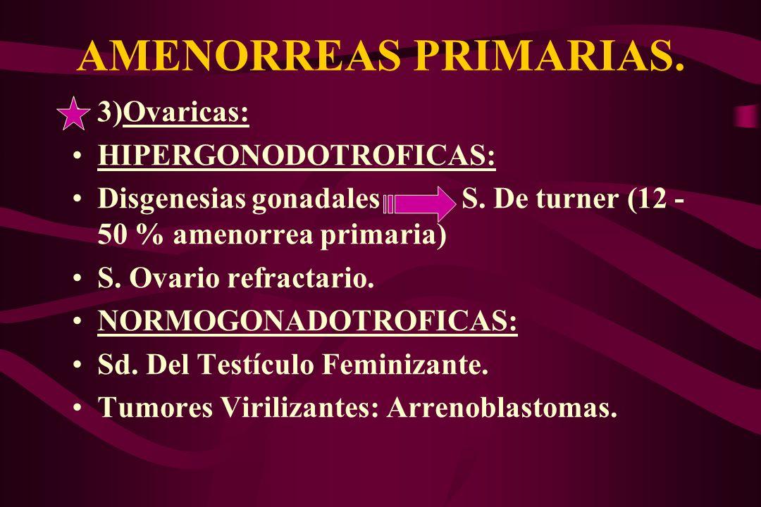 AMENORREAS PRIMARIAS. 3)Ovaricas: HIPERGONODOTROFICAS: Disgenesias gonadales S. De turner (12 - 50 % amenorrea primaria) S. Ovario refractario. NORMOG
