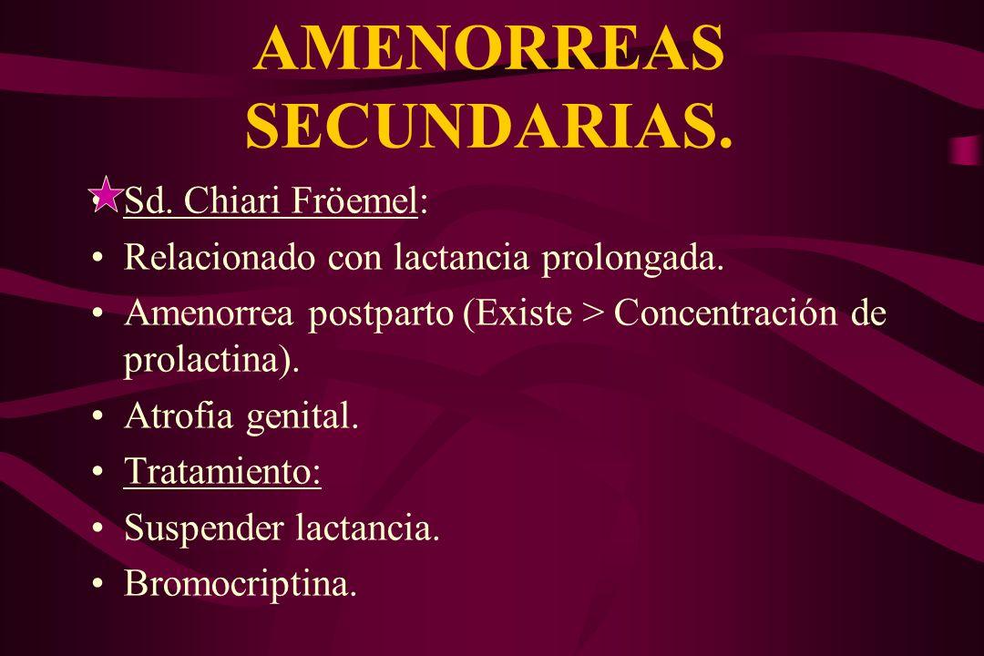 AMENORREAS SECUNDARIAS. Sd. Chiari Fröemel: Relacionado con lactancia prolongada. Amenorrea postparto (Existe > Concentración de prolactina). Atrofia