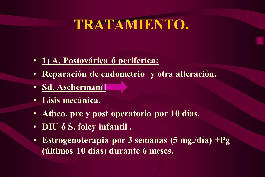 TRATAMIENTO. 1) A. Postovárica ó periferica: Reparación de endometrio y otra alteración. Sd. Aschermann: Lisis mecánica. Atbco. pre y post operatorio