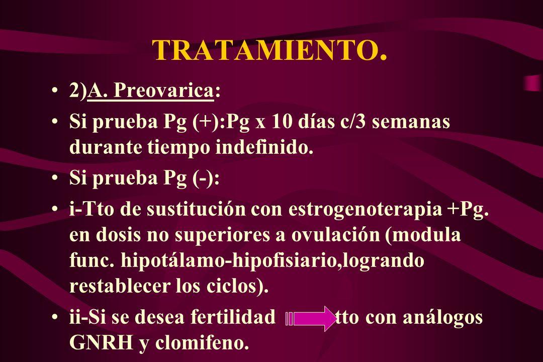 TRATAMIENTO. 2)A. Preovarica: Si prueba Pg (+):Pg x 10 días c/3 semanas durante tiempo indefinido. Si prueba Pg (-): i-Tto de sustitución con estrogen